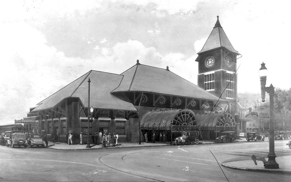 Nash Square showing Union Station, Raleigh NC 1928