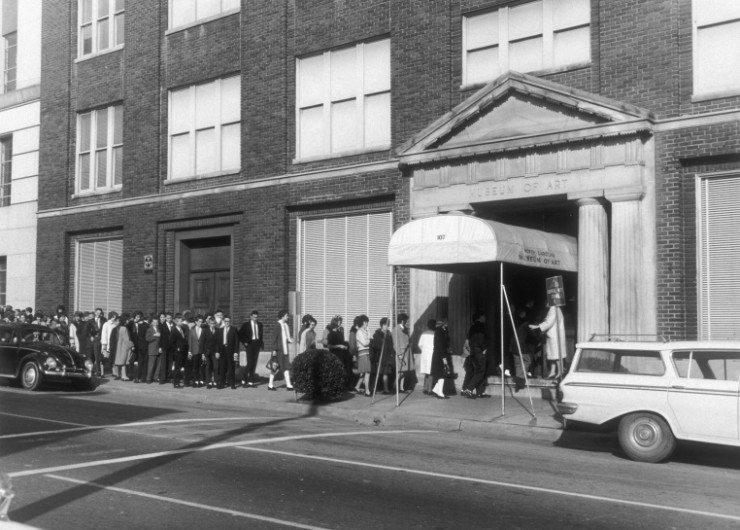 NCMA 1963 - orginal location on Morgan Street, visiting school group