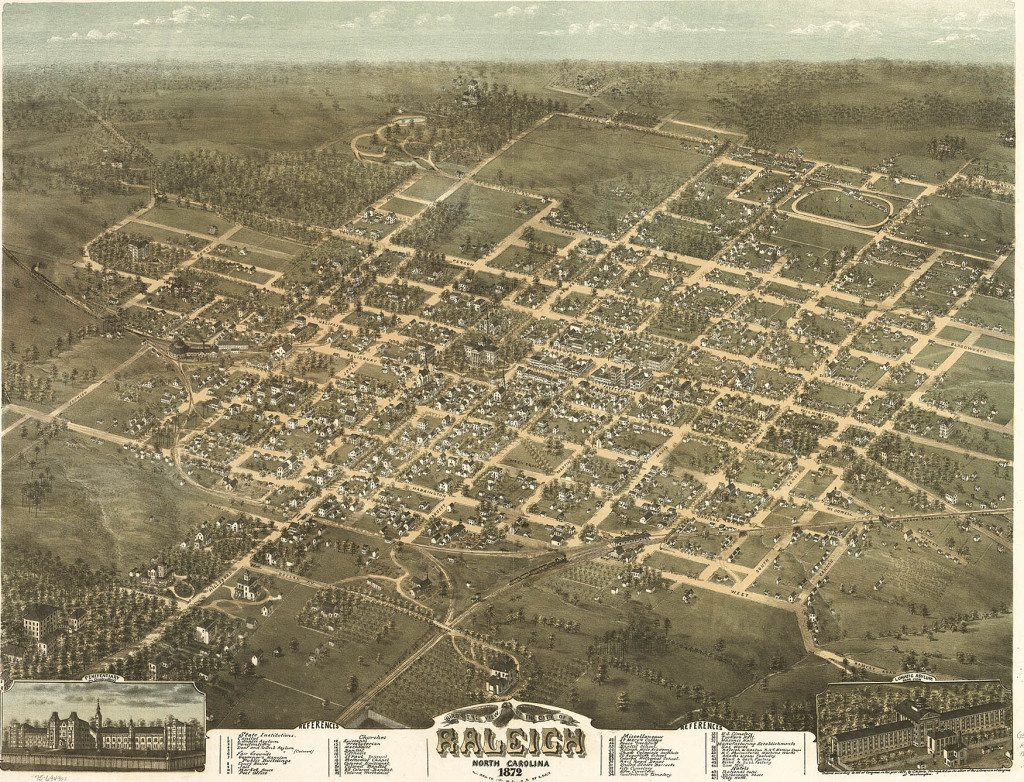 Birds eye view of Raleigh 1872